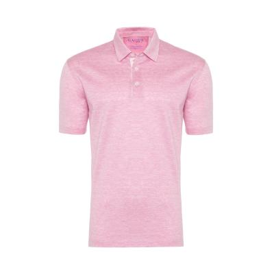 Gallus - Gallus Pembe Kendinden Deseni Filodi Scozia Gömlek Yaka Polo T-Shirt