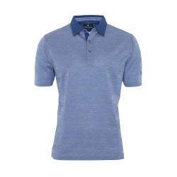 Gallus Piquet Mavi Kendinden Desenli T-Shirt - Thumbnail