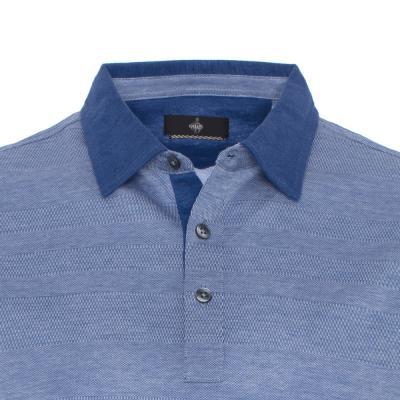 Gallus - Gallus Piquet Mavi Kendinden Desenli T-Shirt (1)