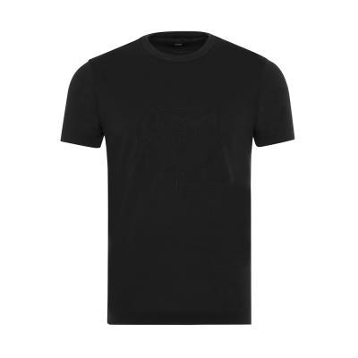 Gallus Siyah Filo Di Scozia Örme Bisiklet Yaka İşlemeli Slim Fit T-Shirt