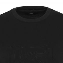 Gallus - Gallus Siyah Filo Di Scozia Örme Bisiklet Yaka İşlemeli Slim Fit T-Shirt (1)