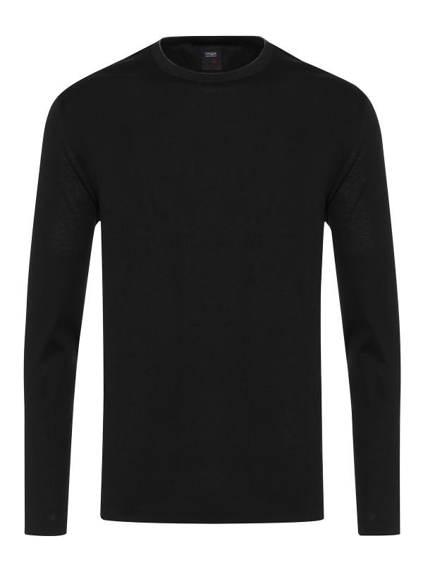 Gallus Siyah Filo Di Scozia Örme Bisiklet Yaka Tailor Fit Uzun Kollu T-Shirt