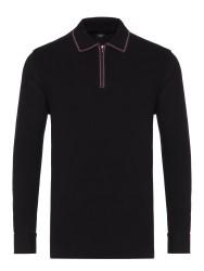 Gallus - Gallus Siyah Piquet Filo Di Scozia Polo Yaka Fermuarlı Tailor Fit Uzun Kollu T-Shirt