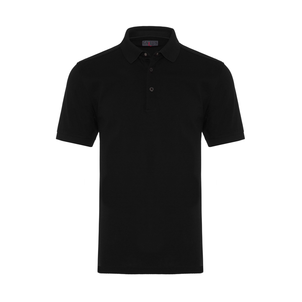 Gallus Siyah Piquet Filo Di Scozia Polo Yaka T-Shirt