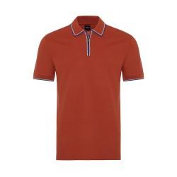 Gallus - Gallus Yanık Portakal Piquet Filo Di Scozia Polo Yaka Fermuarlı Tailor Fit T-Shirt