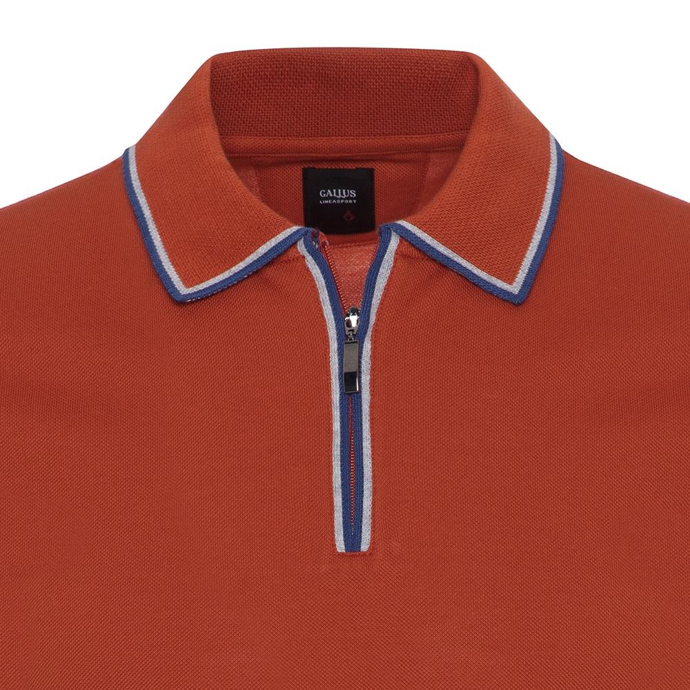 Gallus Yanık Portakal Piquet Filo Di Scozia Polo Yaka Fermuarlı Tailor Fit T-Shirt