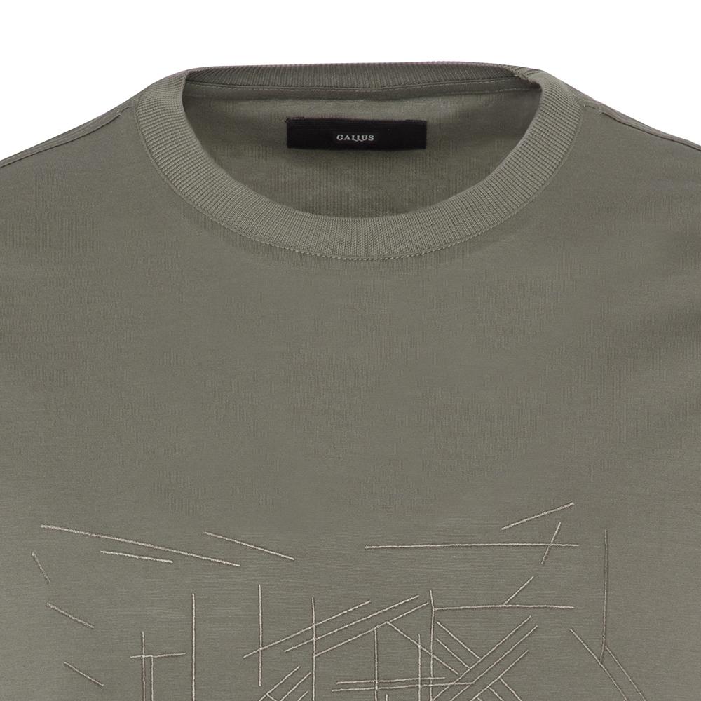 Gallus Yeşil Filo Di Scozia Örme Bisiklet Yaka İşlemeli Slim Fit T-Shirt