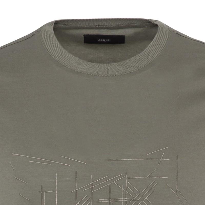 Gallus - Gallus Yeşil Filo Di Scozia Örme Bisiklet Yaka İşlemeli Slim Fit T-Shirt (1)