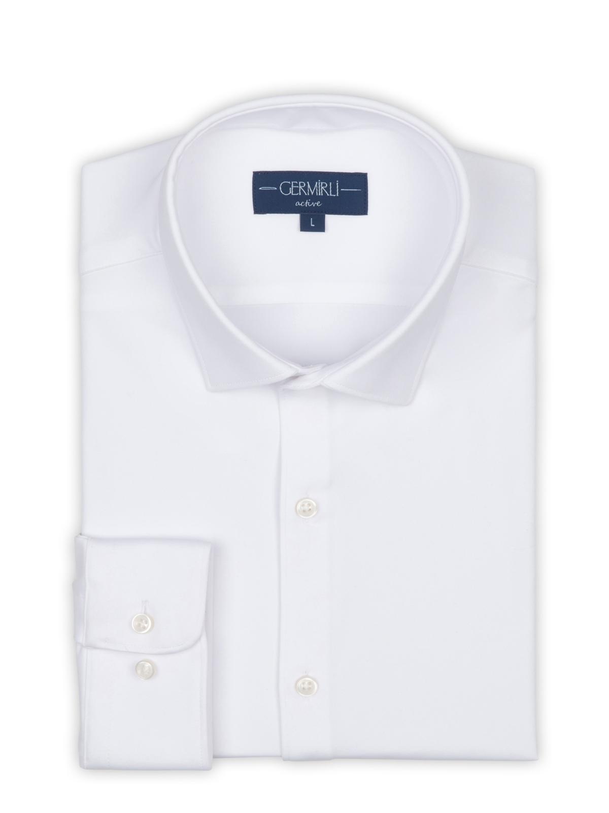 Germirli 3D Streç Beyaz Slim Fit Active Gömlek