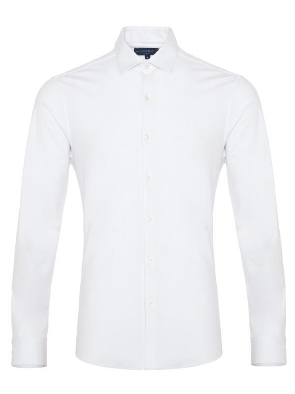 Germirli - Germirli 3D Streç Beyaz Slim Fit Active Gömlek