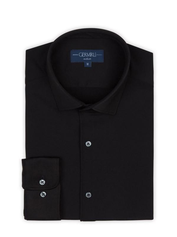 Germirli - Germirli 3D Streç Siyah Slim Fit Active Gömlek (1)