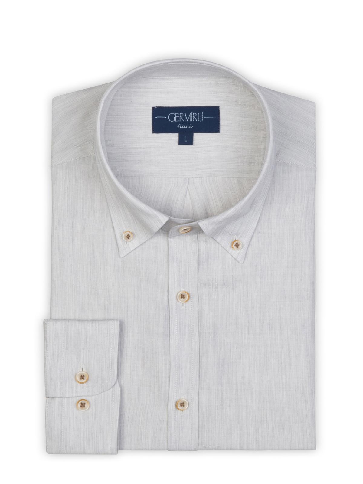 Germirli Açık Gri Yünlü Filafil Doku Düğmeli Yaka Tailor Fit Gömlek