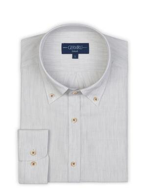 Germirli - Germirli Açık Gri Yünlü Filafil Doku Düğmeli Yaka Tailor Fit Gömlek (1)