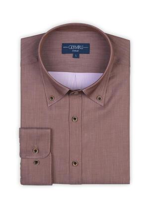 Germirli - Germirli Açık Kahve Twill Düğmeli Yaka Tailor Fit Gömlek (1)