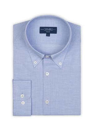 Germirli - Germirli Açık Mavi Balıksırtı Doku Düğmeli Yaka Tailor Fit Gömlek (1)