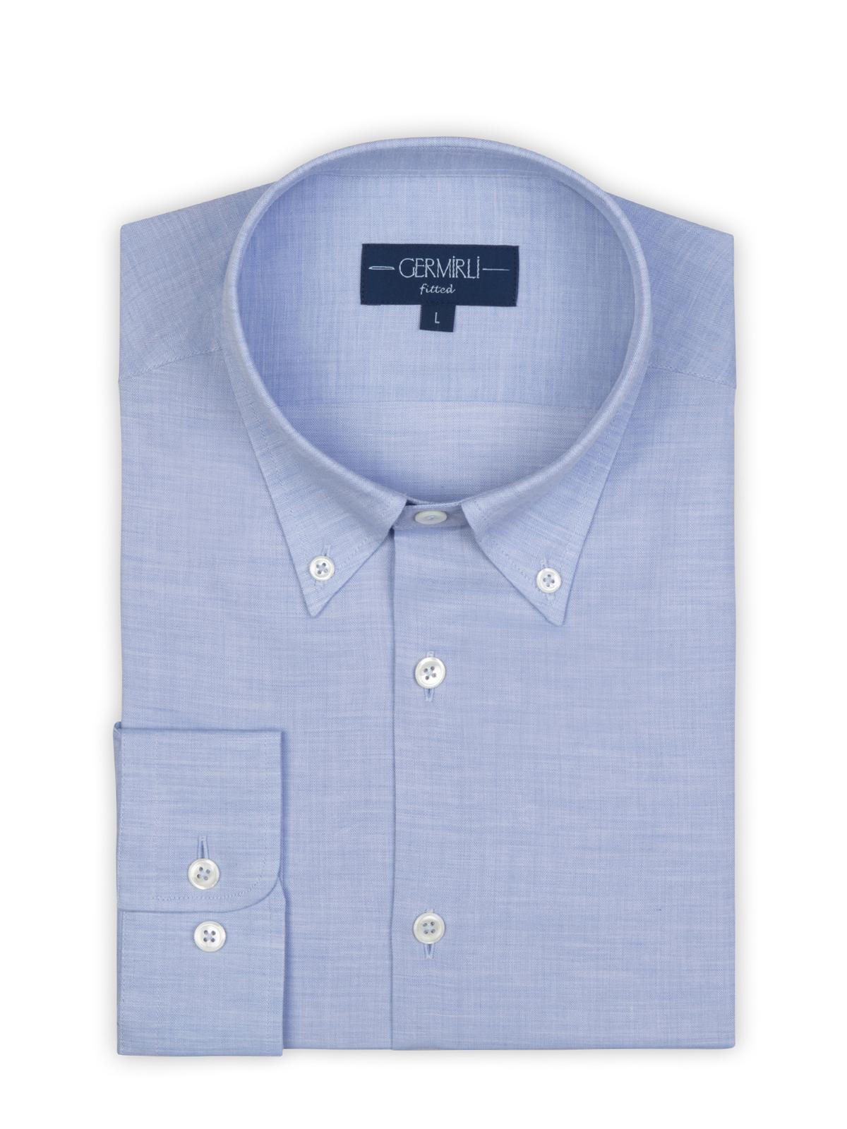 Germirli Açık Mavi Balıksırtı Flanel Düğmeli Yaka Tailor Fit Gömlek