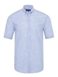 Germirli - Germirli Açık Mavi Beyaz Çizgili Keten Pamuk Kısa Kollu Düğmeli Yaka Tailor Fit Gömlek