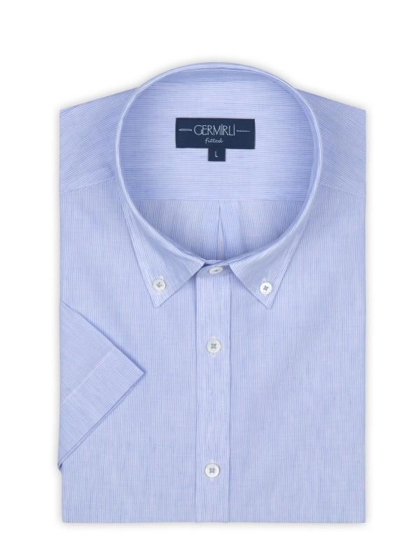 Germirli - Germirli Açık Mavi Beyaz Çizgili Keten Pamuk Kısa Kollu Düğmeli Yaka Tailor Fit Gömlek (1)