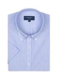 Germirli - Germirli Açık Mavi Beyaz Çizgili Keten Pamuk Kısa Kollu Düğmeli Yaka Cepli Tailor Fit Gömlek (1)