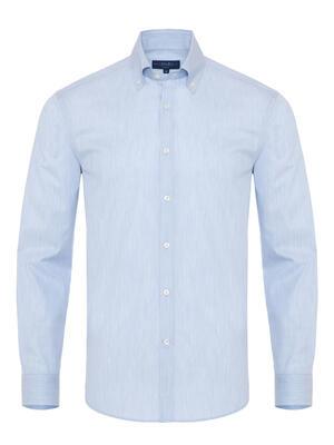 Germirli - Germirli Açık Mavi Filafil Doku Düğmeli Yaka Tailor Fit Gömlek