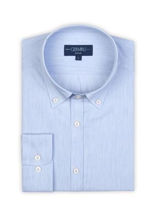 Germirli - Germirli Açık Mavi Filafil Doku Düğmeli Yaka Tailor Fit Gömlek (1)