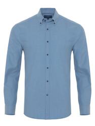 Germirli - Germirli Açık Mavi Flanel Düğmeli Yaka Tailor Fit Gömlek