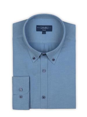 Germirli - Germirli Açık Mavi Flanel Düğmeli Yaka Tailor Fit Gömlek (1)