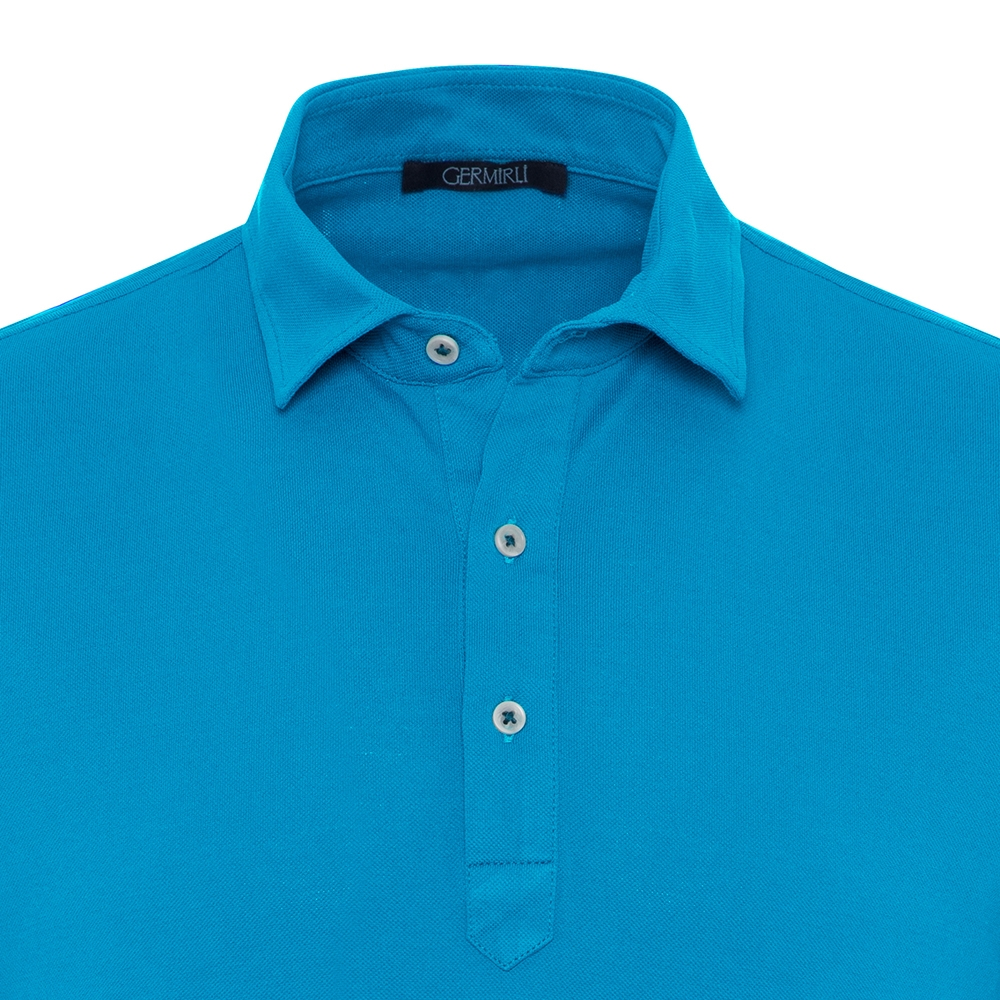 Germirli Açık Mavi Gömlek Yaka Polo Tailor Fit T-Shirt
