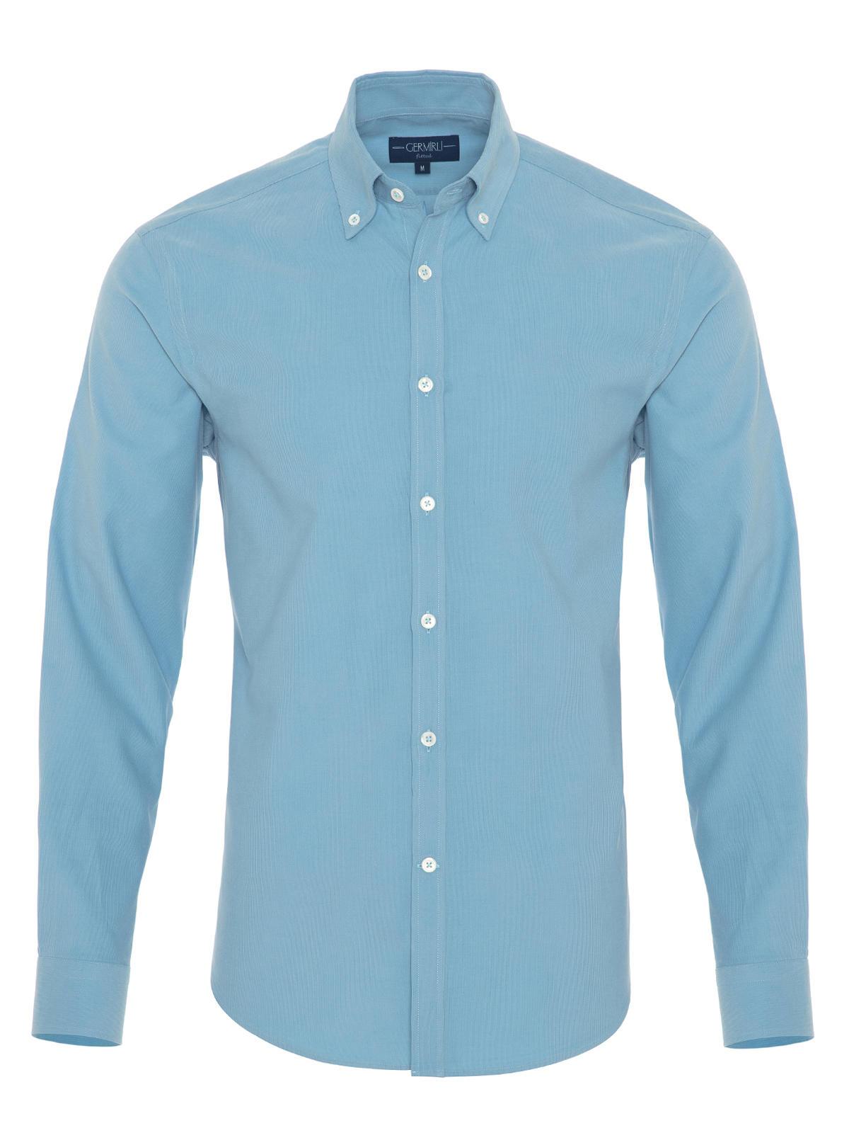 Germirli Açık Mavi Kadife Düğmeli Yaka Tailor Fit Gömlek