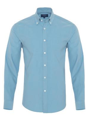 Germirli - Germirli Açık Mavi Kadife Düğmeli Yaka Tailor Fit Gömlek