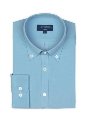 Germirli - Germirli Açık Mavi Kadife Düğmeli Yaka Tailor Fit Gömlek (1)
