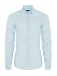 Germirli - Germirli Açık Mavi Keten Düğmeli Yaka Tailor Fit Gömlek