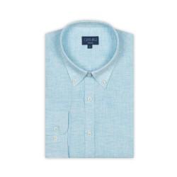 Germirli - Germirli Açık Mavi Keten Düğmeli Yaka Tailor Fit Gömlek (1)