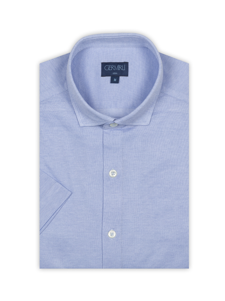 Germirli Açık Mavi Klasik Yaka Örme Kısa Kollu Slim Fit Gömlek