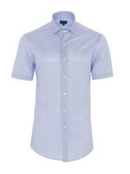 Germirli - Germirli Açık Mavi Klasik Yaka Örme Kısa Kollu Slim Fit Gömlek