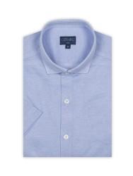 Germirli - Germirli Açık Mavi Klasik Yaka Örme Kısa Kollu Slim Fit Gömlek (1)