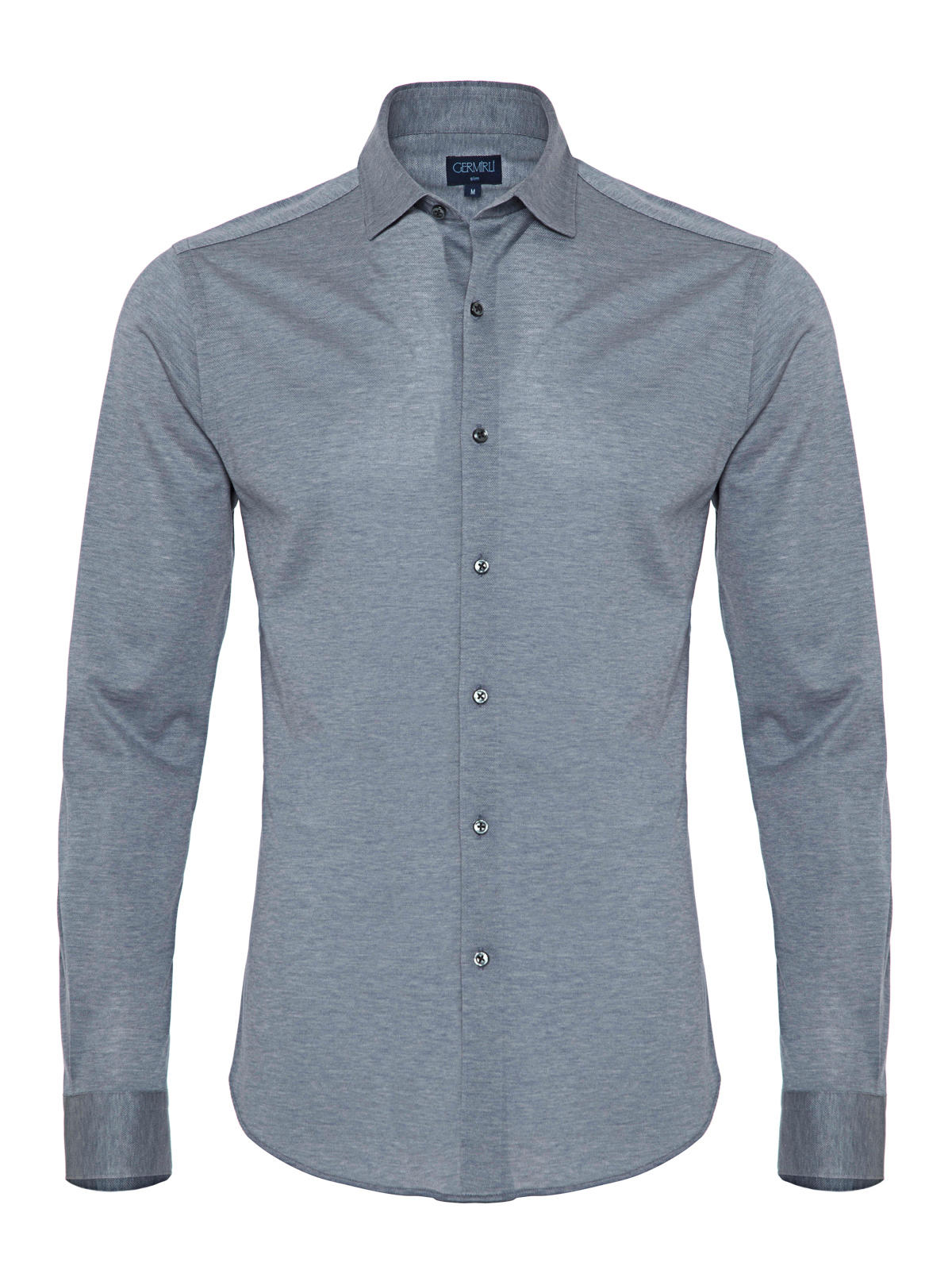Germirli A.Mavi Klasik Yaka Piquet Örme Slim Fit Gömlek
