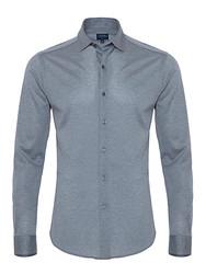 Germirli - Germirli A.Mavi Klasik Yaka Piquet Örme Slim Fit Gömlek