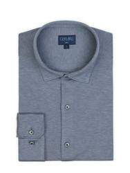 Germirli - Germirli A.Mavi Klasik Yaka Piquet Örme Slim Fit Gömlek (1)
