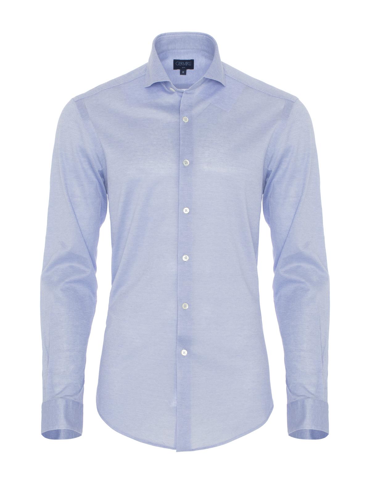 Germirli Açık Mavi Klasik Yaka Piquet Örme Slim Fit Gömlek