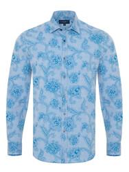 Germirli - Germirli Açık Mavi Şal Desen Klasik Yaka Tailor Fit Gömlek