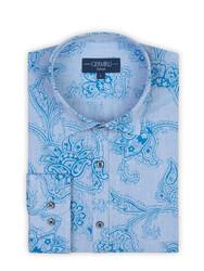 Germirli - Germirli Açık Mavi Şal Desen Klasik Yaka Tailor Fit Gömlek (1)