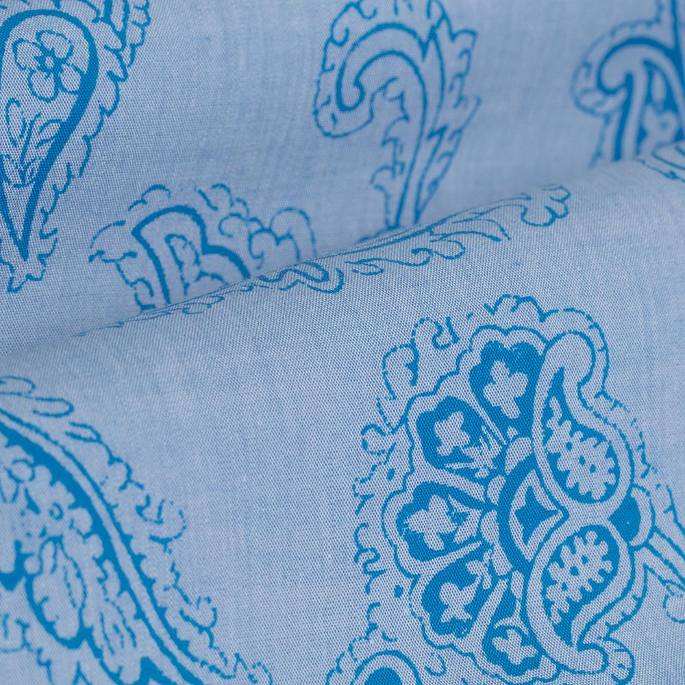 Germirli Açık Mavi Şal Desen Klasik Yaka Tailor Fit Gömlek