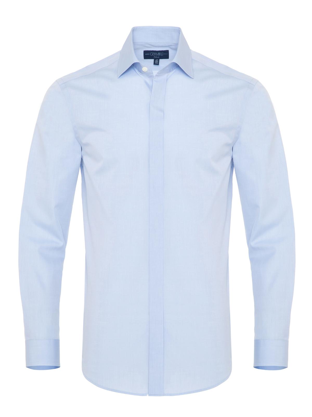 Germirli Açık Mavi Twill Doku Gizli Pat Tailor Fit Gömlek