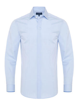 Germirli - Germirli Açık Mavi Twill Doku Gizli Pat Tailor Fit Gömlek