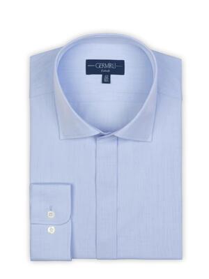 Germirli - Germirli Açık Mavi Twill Doku Gizli Pat Tailor Fit Gömlek (1)