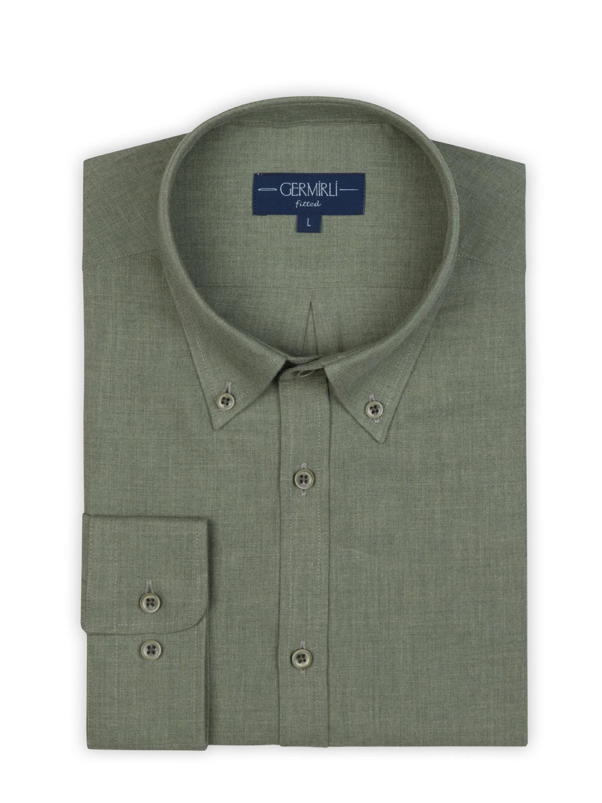 Germirli Açık Yeşil Flanel Düğmeli Yaka Tailor Fit Gömlek