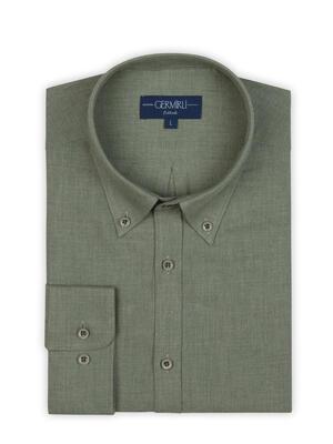 Germirli - Germirli Açık Yeşil Flanel Düğmeli Yaka Tailor Fit Gömlek (1)