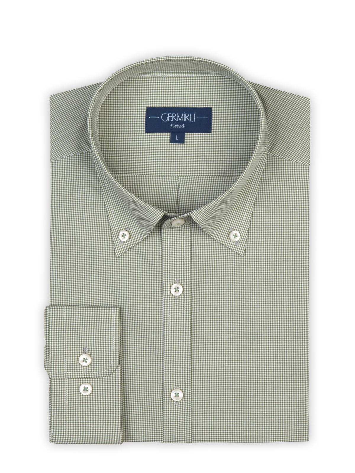 Germirli Açık Yeşil Piti Kareli Düğmeli Yaka Tailor Fit Gömlek