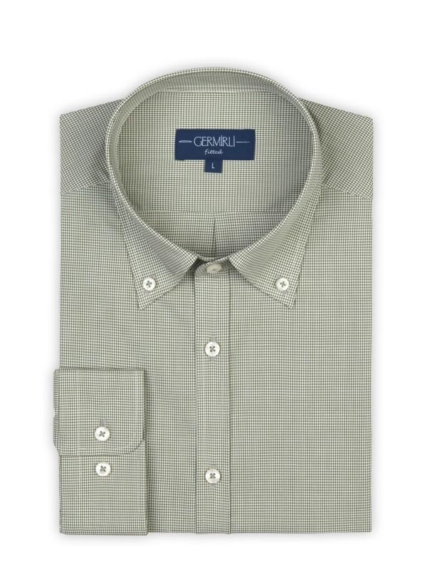 Germirli - Germirli Açık Yeşil Piti Kareli Düğmeli Yaka Tailor Fit Gömlek (1)